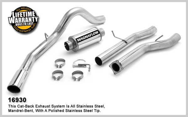 Magnaflow 16930:  Exhaust System for GM DURAMAX DIESEL 6.6L Silverado/Sierra 3500, 4in. CB SYSTEM 2001-2005 CC/LB Dually Single Side Exit