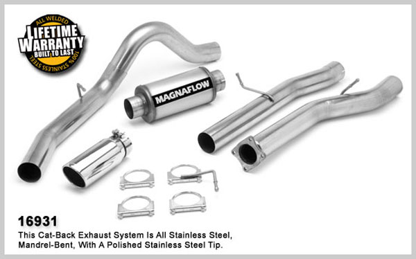 Magnaflow 16931:  Exhaust System for GM DURAMAX DIESEL 6.6L Silverado/Sierra 3500, 4in. CB SYSTEM 2001-2005 CC/LB Dually Clamp-on Tip Single Side Exit