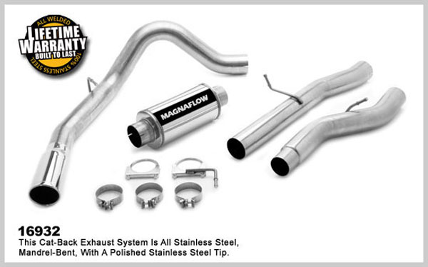 Magnaflow 16932:  Exhaust System for GM DURAMAX DIESEL 6.6L Silverado/Sierra 2500HD/3500 CC/Shrt Bed 4in. CB SYSTEM 2001-2007 Single Side Exit
