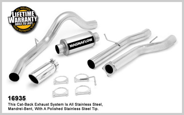 Magnaflow 16935:  Exhaust System for GM DURAMAX DIESEL 6.6L Silverado/Sierra 2500HD/3500 EC/LB 4in. CB SYSTEM 2001-2007 Clamp-on Tip Single Side Exit