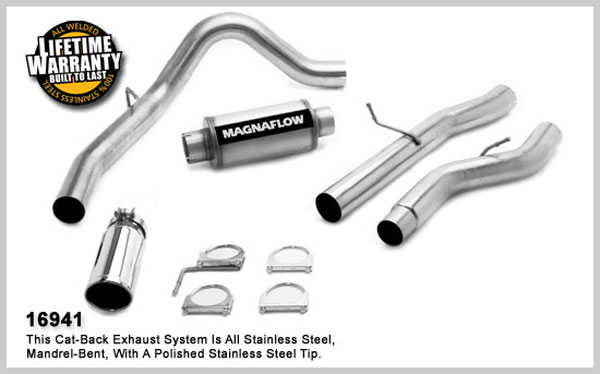 Magnaflow 16941:  Exhaust System for GM DURAMAX DIESEL 6.6L Silverado/Sierra 3500, 4in. CB SYSTEM 2006-2007 CC/LB Dually Clamp-on Tip Single Side Exit