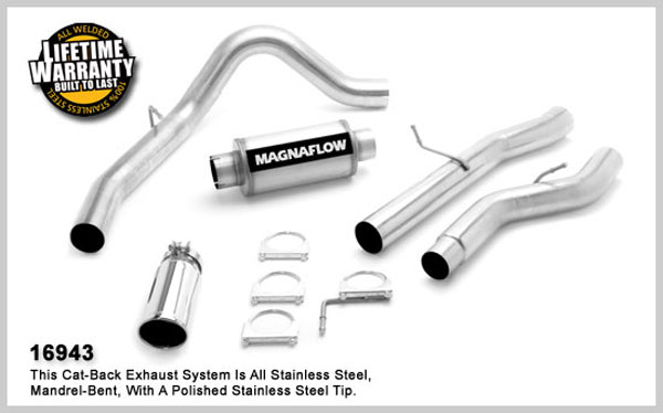 Magnaflow 16943:  Exhaust System for GM DURAMAX DIESEL 6.6L Silverado/Sierra 2500HD/3500 CC/Shrt Bed 4in. CB SYSTEM 2006-2007 Clamp-on Tip Single Side Exit