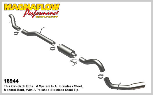 Magnaflow 16944:  Exhaust System for GM DURAMAX DIESEL 6.6L Silverado/Sierra 2500HD/3500 EC/LB Bed 4in. CB SYSTEM 2006-2007 Single Side Exit
