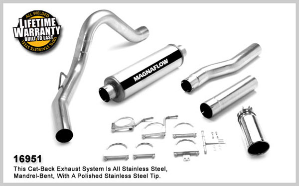 Magnaflow 16951:  Exhaust System for FORD 7.3L POWERSTROKE DIESEL, 4in SYSTEM 1999-2007