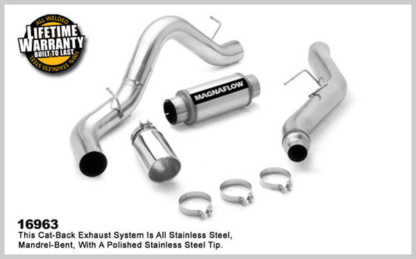 Magnaflow 16963:  Exhaust System for GM DURAMAX DIESEL 6.6L Silverado/Sierra 2500HD/3500 CC/LB 5in. CB SYSTEM 2006-2007 Clamp-on tip Single Side Exit