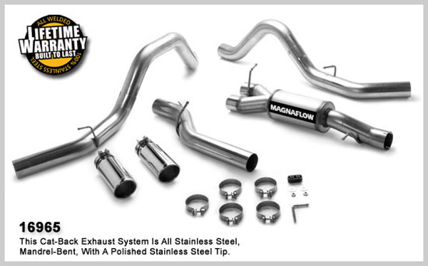 Magnaflow 16965:  Exhaust System for GM DURAMAX DIESEL 6.6L Silverado/Sierra 2500HD/3500 CC/Shrt Bed 4in. CB SYSTEM 2006-2007 Clamp-on Tips Dual Split Rear Behind Tires Exit