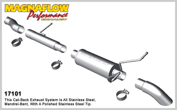 Magnaflow 17101:  Exhaust System for 2009-11 Silverado/Sierra 4.3L 4.8L 5.3L SC Off Road Pro Series 3.0in. Tubing; 3.0in. Turn Down In Front of Rear Tire