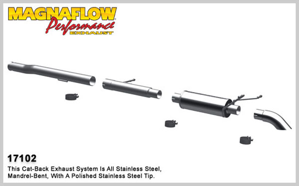 Magnaflow 17102:  Exhaust System for 2009-11 Silverado/Sierra 4.3L 4.8L 5.3L EC CC Off Road Pro Series 3.0in. Tubing; 3.0in. Turn Down In Front of Rear Tire