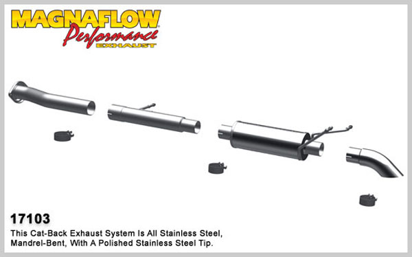 Magnaflow 17103:  Exhaust System for 2007-08 Silverado/Sierra 4.3L 4.8L 5.3L SC Off Road Pro Series 3.0in. Tubing; 3.0in. Turn Down In Front of Rear Tire