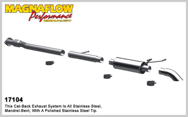 Magnaflow 17104:  Exhaust System for 2007-08 Silverado/Sierra 4.3L 4.8L 5.3L EC CC Off Road Pro Series 3.0in. Tubing; 3.0in. Turn Down In Front of Rear Tire