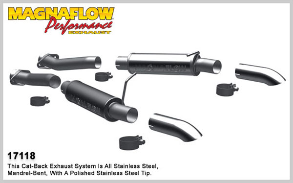 Magnaflow 17118:  Exhaust System for 1994-04 Ford Mustang GT 2.5 inch 4.6/5.0 Turn Down In Front of Rear Tire V8