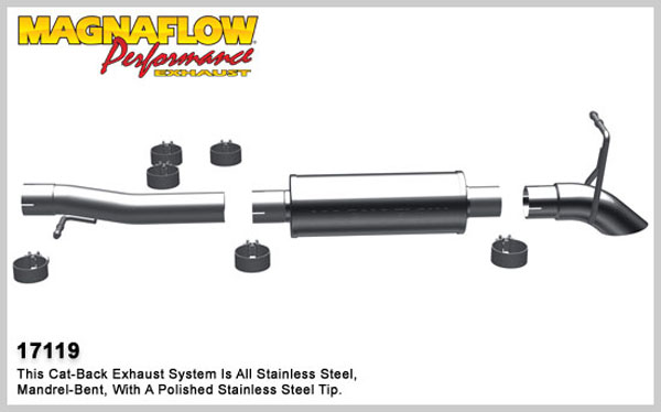 Magnaflow 17119:  Exhaust System for 2007-10 Jeep Wrangler 3.8L