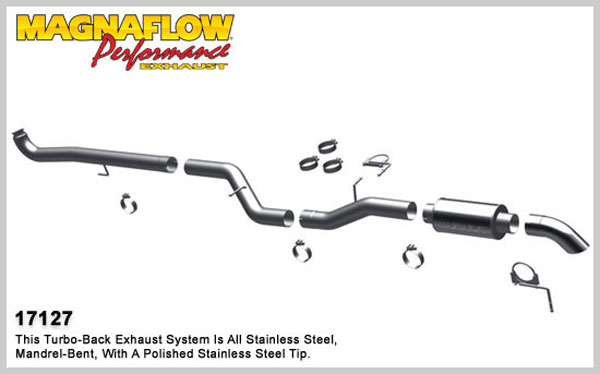 Magnaflow 17127:  Exhaust System for 2001-07 GM Diesel Silverado/Sierra 2500HD/3500 6.6L CC/SB Off Road Pro Series; Turbo-Back 4.0in. Tubing; 4.0in. Turn Down