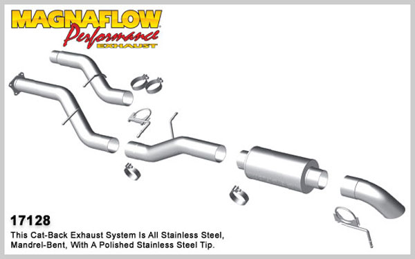 Magnaflow 17128:  Exhaust System for 2001-07 GM Diesel Silverado/Sierra 2500HD/3500 6.6L CC/SB Off Road Pro Series; Cat-Back 4.0in. Tubing; 4.0in. Turn Down