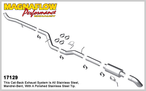 Magnaflow 17129:  Exhaust System for 2001-07 GM Diesel Silverado/Sierra 2500HD/3500 6.6L CC/LB Off Road Pro Series; Turbo-Back 4.0in. Tubing; 4.0in. Turn Down