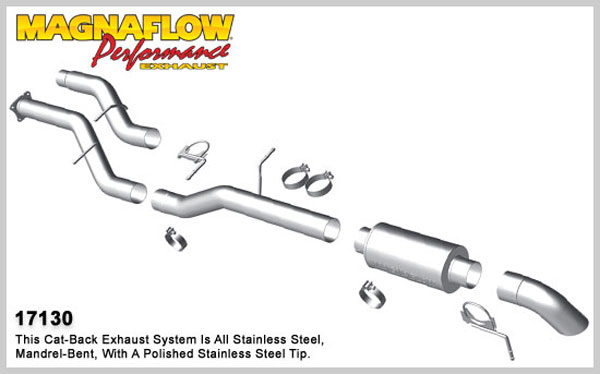Magnaflow 17130:  Exhaust System for 2001-07 GM Diesel Silverado/Sierra 2500HD/3500 6.6L CC/LB Off Road Pro Series; Cat-Back 4.0in. Tubing; 4.0in. Turn Down