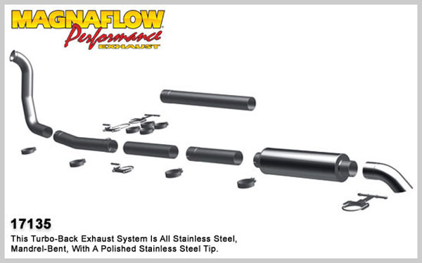 Magnaflow 17135:  Exhaust System for 1999-03 Ford Diesel EC/CC 4 inch