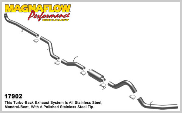 Magnaflow 17902:  Exhaust System for GM DURAMAX DIESEL 6.6L Silverado/Sierra 2500HD/3500 CC/Shrt Bed 4in. Turbo-Back SYSTEM 2001-2007 Single Side Exit (no Tip)
