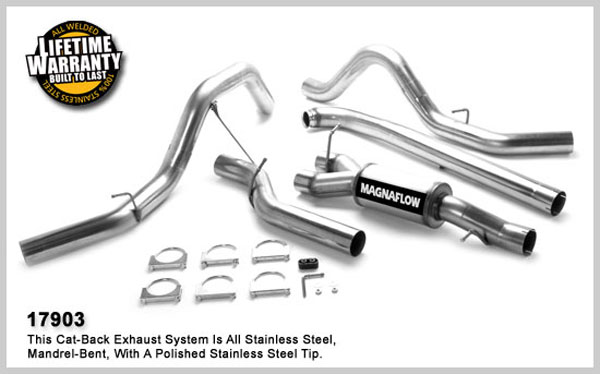 Magnaflow 17903:  Exhaust System for GM DURAMAX DIESEL 6.6L Silverado/Sierra 2500HD/3500 CC/Shrt Bed 4in. Turbo-Back SYSTEM 2001-2007 Dual Split Behind Rear Tires Exit (no Tips)