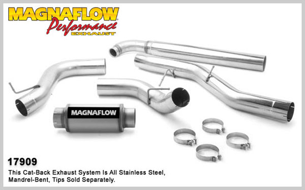 Magnaflow 17909:  Exhaust System for GM DURAMAX DIESEL 6.6L Silverado/Sierra 2500HD/3500 CC/Shrt Bed 5in. Turbo-Back SYSTEM 2001-2007 Single Side Exit (no Tip)