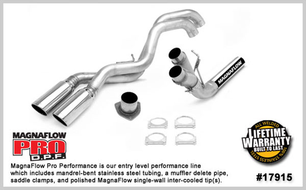 Magnaflow 17915:  Muffler Delete for GM DURAMAX DIESEL 6.6L Silverado/Sierra 2500HD/3500 ECCC/ShrtLng Bed 4in. PF-Back 2007-10 Dual Same Side Exit Behind Rear Tire
