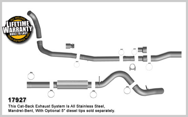 Magnaflow 17927:  Exhaust System for FORD 6.0L POWERSTROKE DIESEL, 5in. SYSTEM 2003-2007