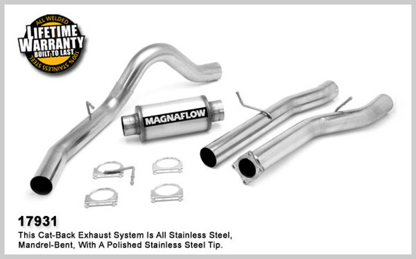Magnaflow 17931:  Exhaust System for GM DURAMAX DIESEL 6.6L Silverado/Sierra 3500 Dually CC/LB 4in. Cat-Back SYSTEM 2001-2005 Single Side Exit (no Tip)