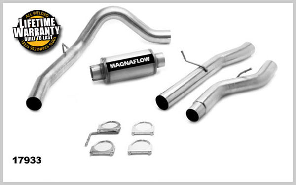 Magnaflow 17933:  Exhaust System for GM DURAMAX DIESEL 6.6L Silverado/Sierra 2500HD/3500 CC/Shrt Bed 4in. Cat-Back SYSTEM 2001-2005 Single Side Exit (no Tip)