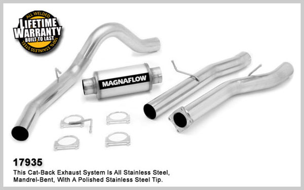 Magnaflow 17935:  Exhaust System for GM DURAMAX DIESEL 6.6L Silverado/Sierra 2500HD/3500 CC/LB 4in. Cat-Back SYSTEM 2001-2005 Single Side Exit (no Tip)