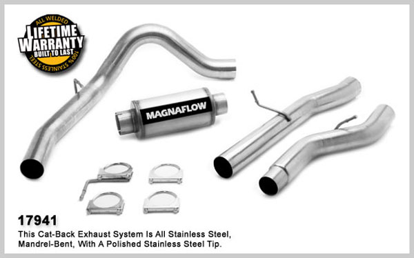 Magnaflow 17941:  Exhaust System for GM DURAMAX DIESEL 6.6L Silverado/Sierra 3500 Dually CC/LB 4in. Cat-Back SYSTEM 2006-2007 Single Side Exit (no Tip)