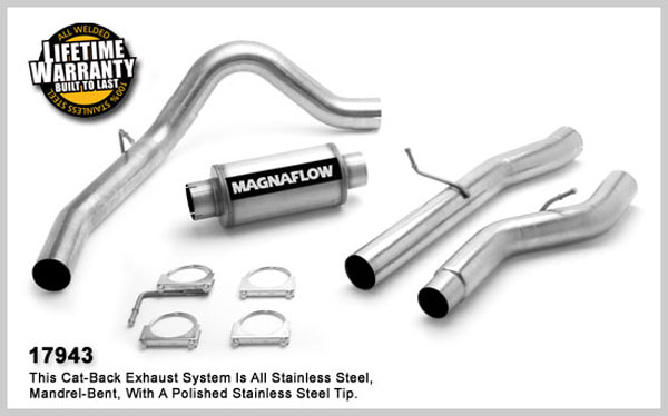 Magnaflow 17943:  Exhaust System for GM DURAMAX DIESEL 6.6L Silverado/Sierra 2500HD/3500 CC/Shrt Bed 4in. Cat-Back SYSTEM 2006-2007 Single Side Exit (no Tip)