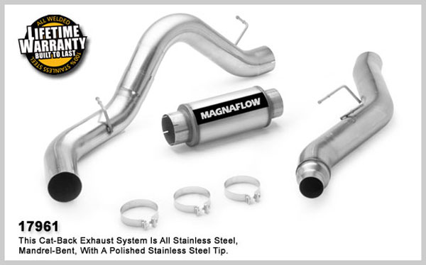 Magnaflow 17961:  Exhaust System for GM DURAMAX DIESEL 6.6L Silverado/Sierra 2500HD/3500 CC/Shrt Bed 5in. Cat-Back SYSTEM 2006-2007 Single Side Exit (no Tip)