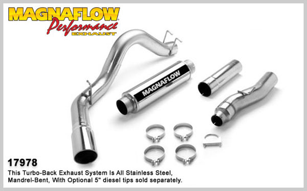 Magnaflow 17978:  Exhaust System for FORD 6.0L POWERSTROKE DIESEL, 4in. SYSTEM 2003-2004