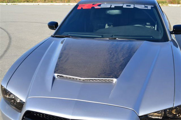 RKSport 24013025:  Dodge Charger 2011-14 Ram Air Hood in Fiberglass with Carbon Fiber Blister Center