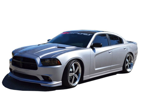 RKSport 24013200 | Dodge Charger Urethane Ground Effects Package with Carbon Fiber Lower Valance; 2011-2014