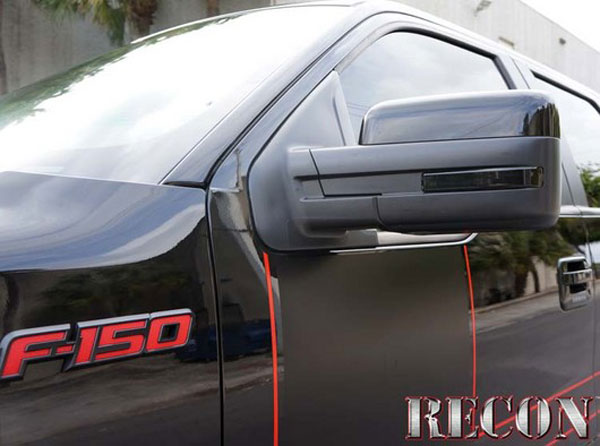 Recon 264240BK:  Ford F150 and Raptor 2009-13 Side Mirror Lenses Markers - Smoked