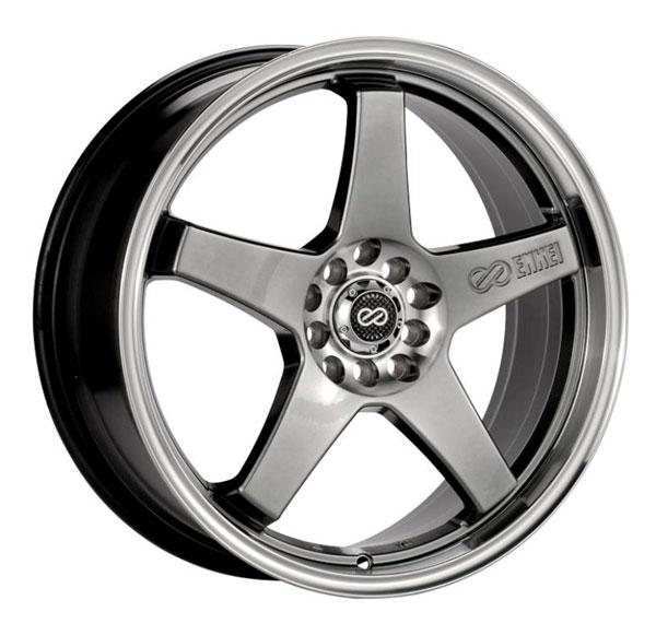 Enkei 446-770-0145hb | EV5 17x7 4x100/114.3 45mm Offset 72.6 Bore Diameter Hyper Black w/ Machined Lip Wheel