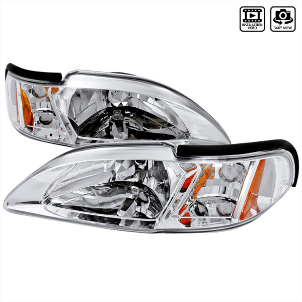 Spec-D Tuning 2LCLH-MST94-TM | Spec-D 94-98 Ford Mustang Headlight With Corner V8