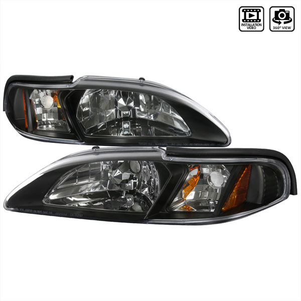 Spec-D Tuning 2LCLH-MST94JM-TM | Spec-D Ford Mustang Headlight With Corner V8; 1994-1998