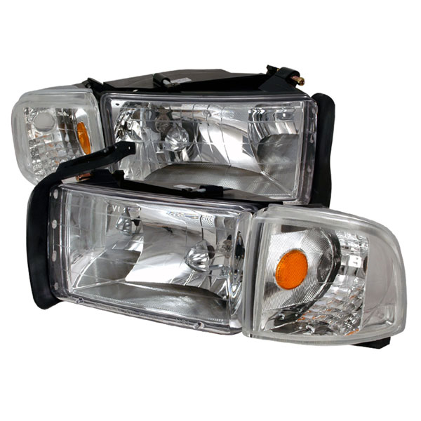 Spec-D Tuning 2LCLH-RAM94-KS: Spec-D 94-01 Dodge Ram Headlights Combo Set - Chrome