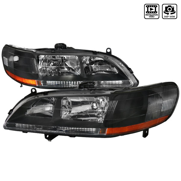Spec-D Tuning 2LH-ACD98JM-RS: Spec-D 98-02 Honda Accord Jdm Black Headlights