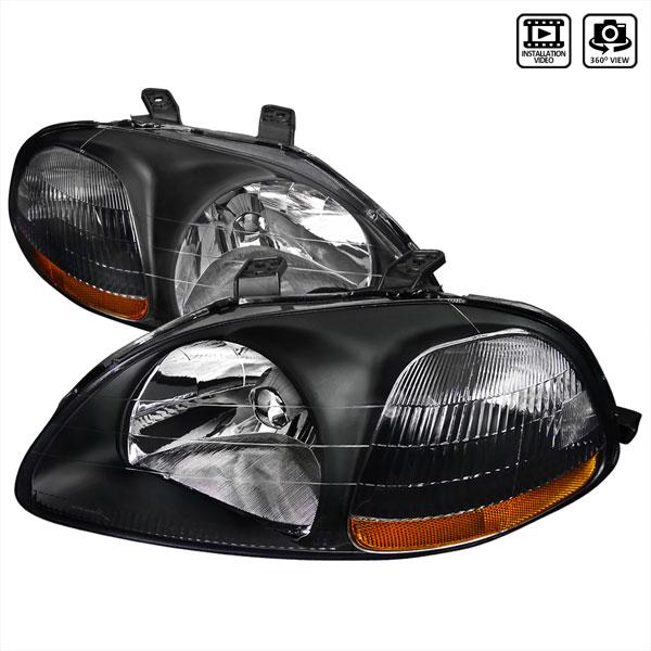 Spec-D Tuning 2LH-CV96JM-RS | Spec-D Honda Civic Jdm Headlights - Black; 1996-1998