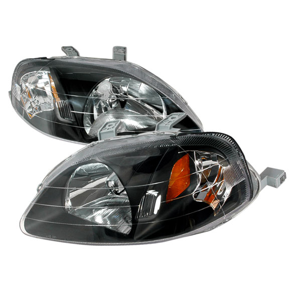 Spec-D Tuning 2LH-CV99JM-KS | Spec-D Honda Civic Jdm Black Headlights; 1999-2000