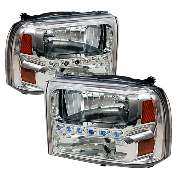 Spec-D Tuning 2LH-F25099-KS: Spec-D 99-04 Ford F250 Led 1pc Headlights - Chrome