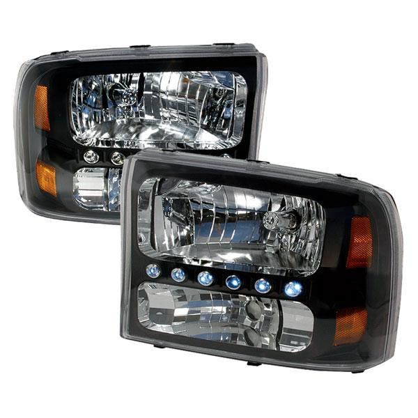 Spec-D Tuning 2LH-F25099JM-KS | Spec-D Ford F250 Led 1pc Headlights - Black; 1999-2004