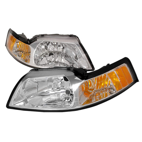 Spec-D Tuning 2LH-MST99-KS: Spec-D 99-04 Ford Mustang 1pc Headlights-chrome V8