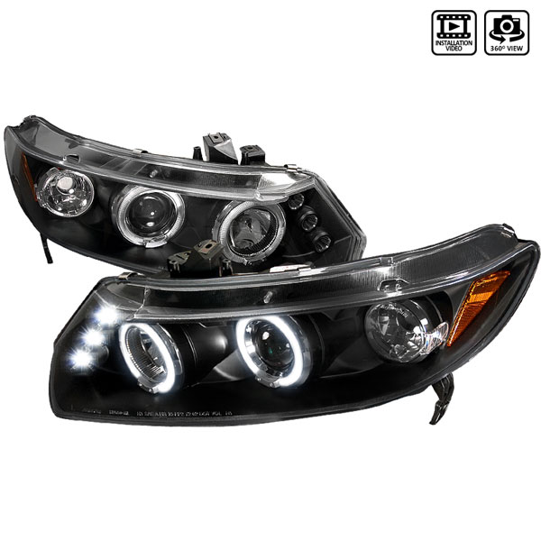 Spec-D Tuning 2LHP-CV062JM-TM | Spec-D Honda Civic 2d Ppojector Headlights; 2006-2010