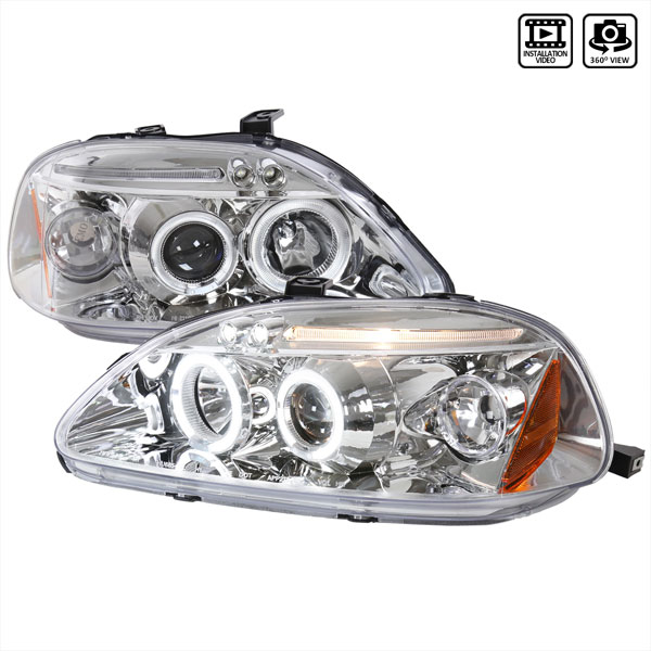Spec-D Tuning 2LHP-CV96-TM: Spec-D 96-98 Honda Civic Led Projector