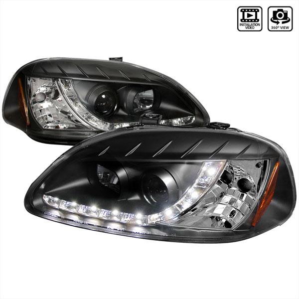 Spec-D Tuning 2LHP-CV96JM-8-TM | Spec-D 96-98 Honda Civic R8 Style Projector Headlights