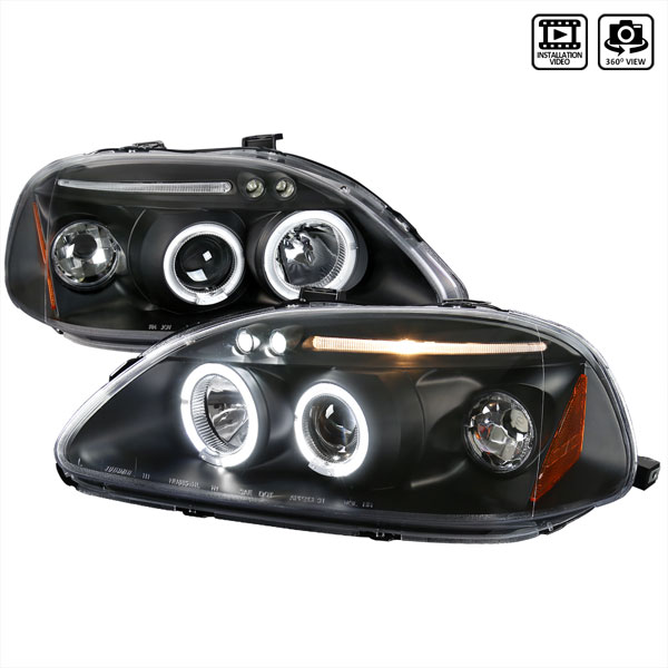 Spec-D Tuning 2LHP-CV96JM-TM: Spec-D 96-98 Honda Civic Led Projector